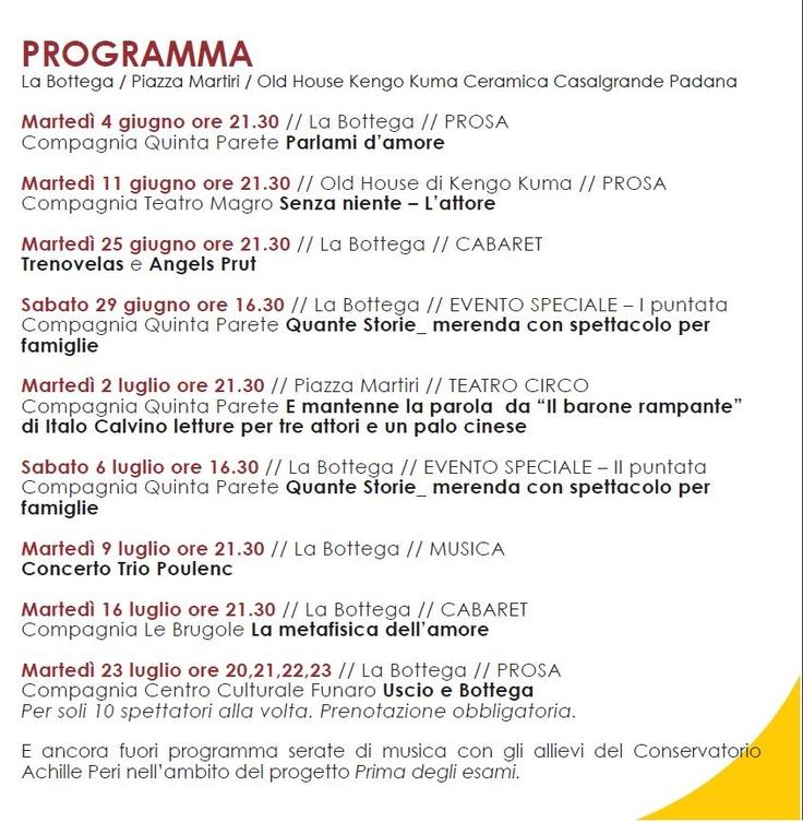 ESTATU QUO - programma completo 4 giugno - 23 luglio 2013 www.quintaparete.org