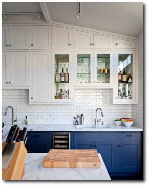 Two Toned Kitchen Cabinets -- I Like The Glass Doors But
