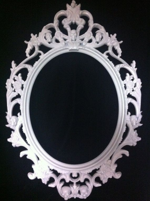 gloss white skull oval picture frame mirror shabby chic baroque gothic victorian tattoo