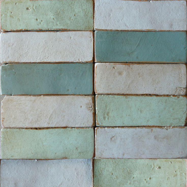 Materiaal - ambachtelijke tegels kleur - groengrijze tinten
