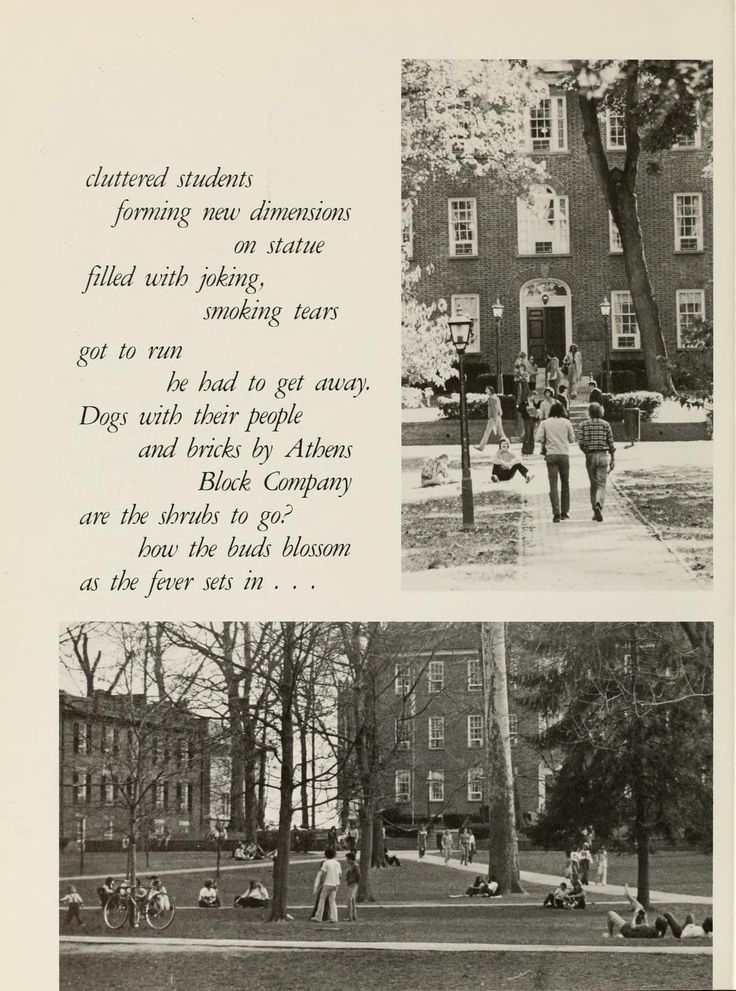 Athena Yearbook, 1974. College Green scenes. :: Ohio University Archives