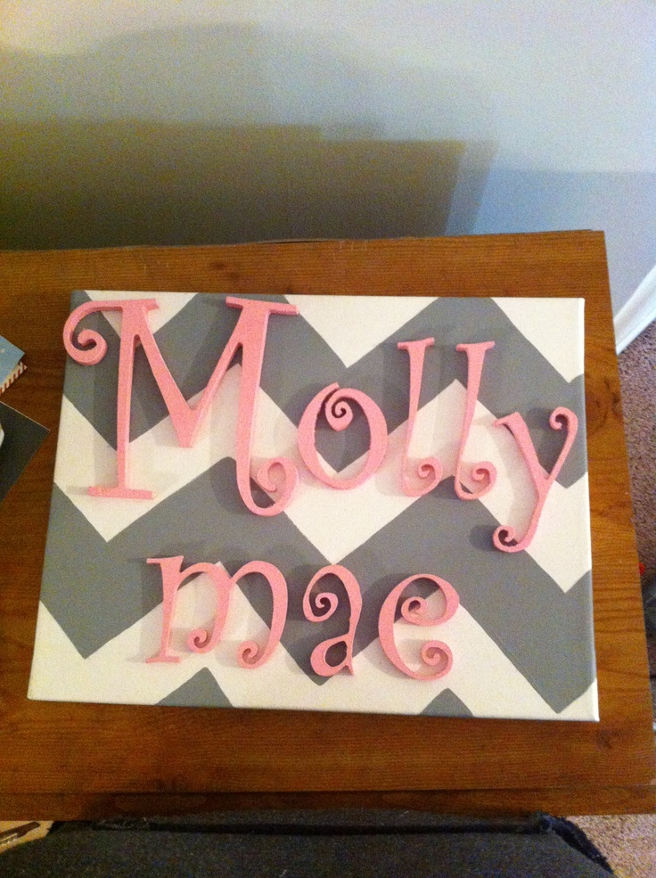 Perfect for the nursery! Chevron painted on canvas with painted letters glued on top of the special girls name.