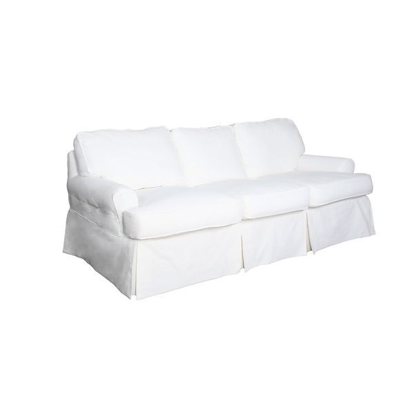 Sunset Trading Horizon T Cushion Sofa Slipcover Performance Fabric White Cushions On Sofa Slipcovers Furniture Slipcovers