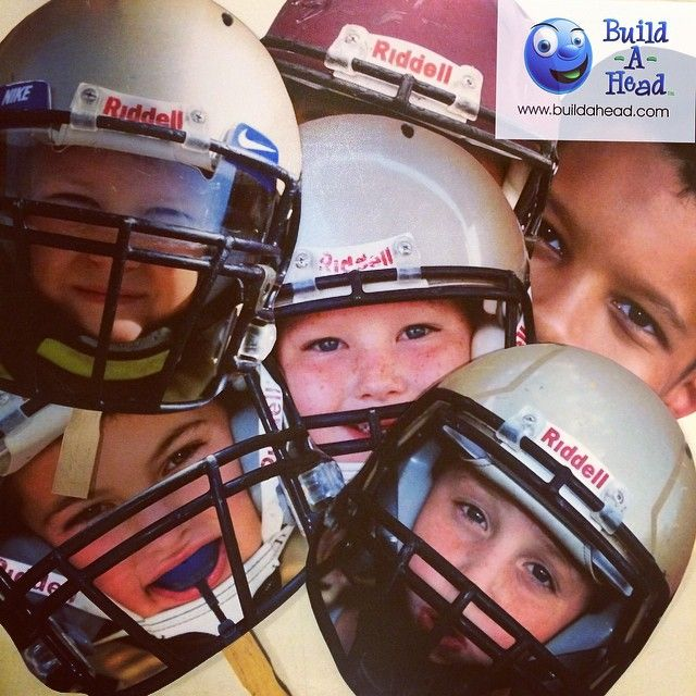 Big head cutouts for the pop warner team! Where are the team mom's and team dad's out there?! Just 3 for $11.99 upload your own photo and ships out next day with BuildAHead.com