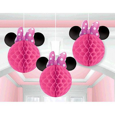 minnie mouse pink honeycomb balls decoration birthday party supplies favors 3ct - Decorations