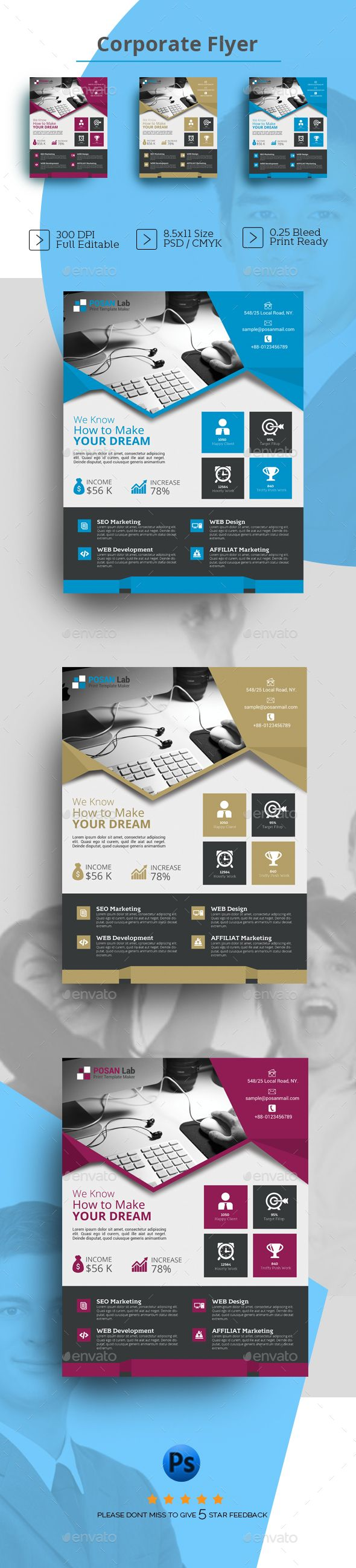 Flyers — Photoshop PSD #creative flyer #free • Available here → https://graphicriver.net/item/flyers-/16685907?ref=pxcr