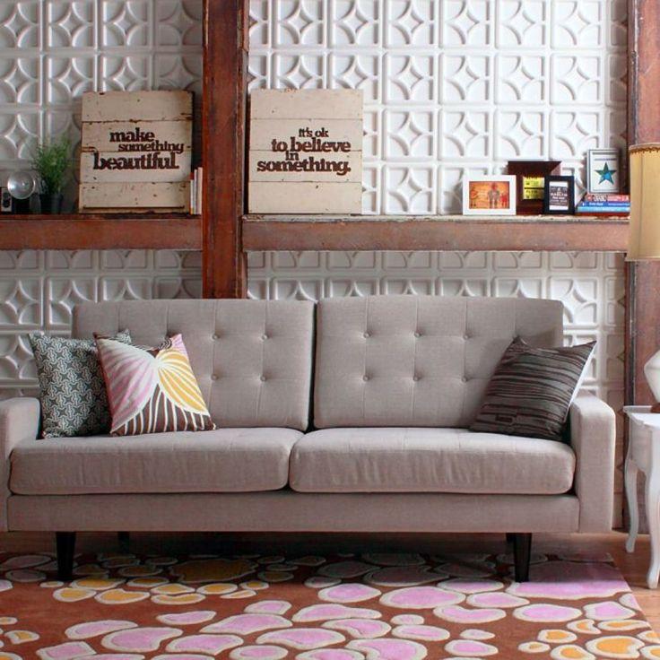 Eklektisch Eingerichtetes Wohnzimmer Mit Moderner Wandgestaltung