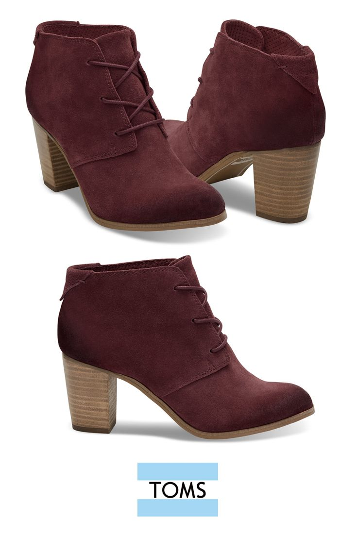 TOMS Oxblood Burnished Suede Women's Lunata Lace-up Booties. Complete with a leather welt, a stacked wooden heel and a rubber outsole that provides a no-slip grip.