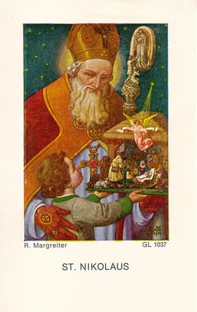 St Nicholas with child and creche