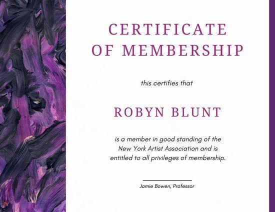 Purple Watercolor Membership Certificate