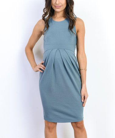 Another great find on #zulily! Turquoise Front-Pleat Maternity Sleeveless Dress #zulilyfinds