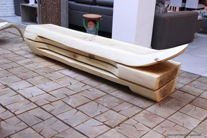 Unikatowe meble z drewna, siedzisko SKOCZEK. Autor: Dariusz Nowak.