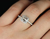 This is EXACTLY what I want. Barra Original Size 14kt Rose Gold Thin Morganite Cushion Halo Engagement Ring