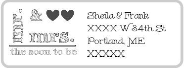 WEDDING mr & mrs (or soon to be) return address mailing label *5 SHEETS* stationary sticker