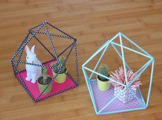 """DIY """"terrarium"""" géométrique en pailles   Geometric straw terrarium - Une fille hibou:"""