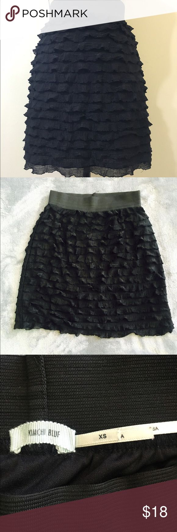 Kimchi Blue micro ruffle black tube skirt. Kimchi Blue by Urban Outfitters.  Gorgeous skirt in perfect condition; does not show any signs of wear.  Perfect skirt for date night or a night on the town! Urban Outfitters Skirts Mini