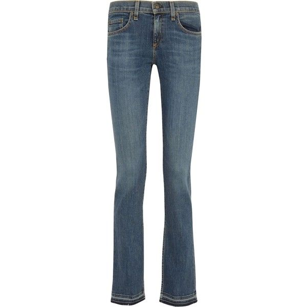 RAG & BONE   Lottie low-rise frayed bootcut jeans ($145) ❤ liked on Polyvore featuring jeans, low rise bootcut jeans, boot cut jeans, frayed blue jeans, bootcut jeans and rag bone jeans