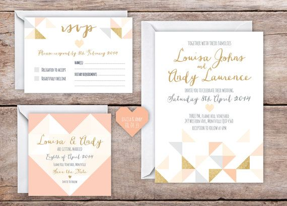 This peach, grey and glitter gold wedding invitation set is printable for a budget-friendly alternative. This listing is for a DIGITAL file, not