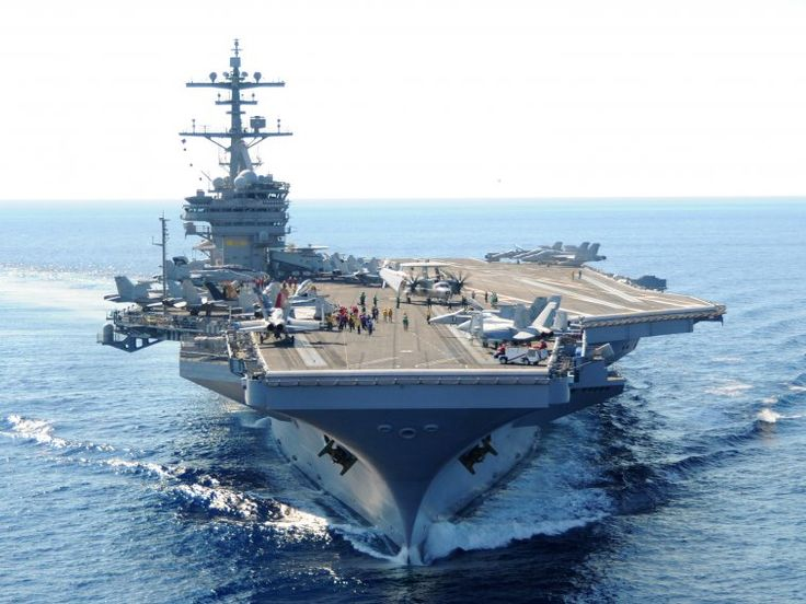 Here's the USS George H.W. Bush, complete with aircraft for logistics, air-to-air, air-to-ground, intelligence and surveillance, early-warning, and antisubmarine warfare.