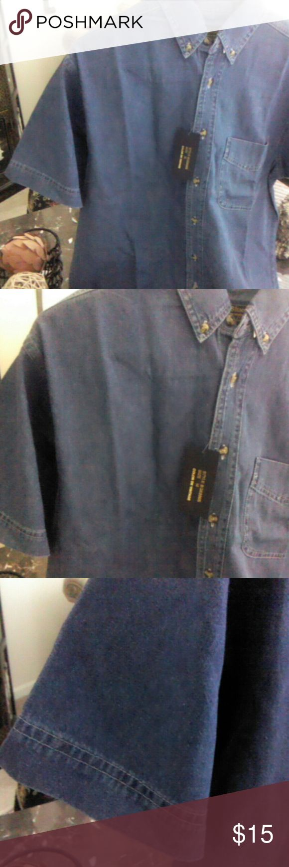Short sleeve jean shirt for men Blue jean, pocket, button down, & short sleeves Tops Button Down Shirts