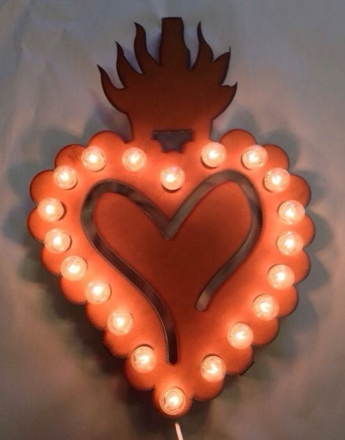 Sacred HEART with Crown rustic lighted marquee sign Vintage home art decor #Novelty