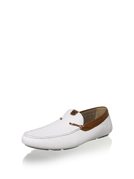 Roberto Cavalli Men's Cannes White Leather Perf Loafer