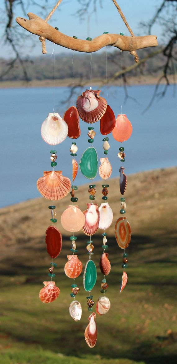 Driftwood Seashell Wind Chimes, Handmade Wind Chimes, Wind Chimes, Agate Wind Chime, Beach House Decor, Outdoor Mobile, Housewarming Gift