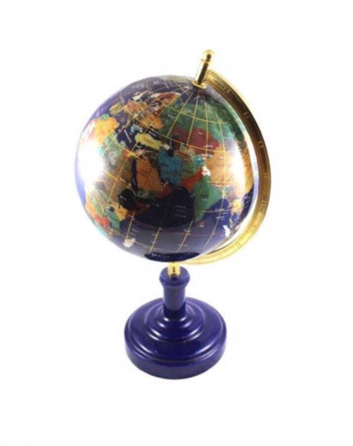 Authentic Large Gemstone Inlaid Desktop Earth Globe  With Gold Tone Accents Featuring Blue Lapis Gemstone Oceans by ClevelandFinds on Etsy