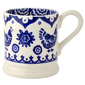 """Blue Hen Border"" Blue Hen & Border 1/2 Pint Mug at Emma Bridgewater"