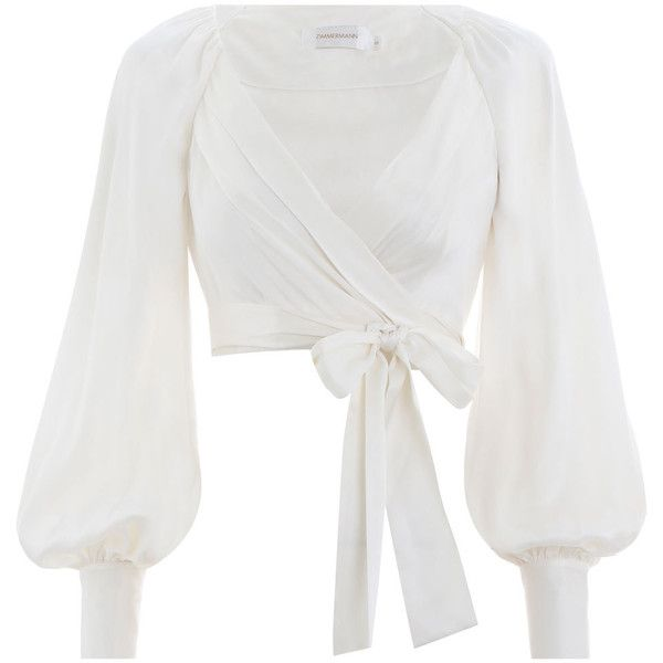 ZIMMERMANN Wrap Blouse ($425) ❤ liked on Polyvore featuring tops, blouses, crop blouse, crop tops, wrap top, white wrap top and white v neck blouse