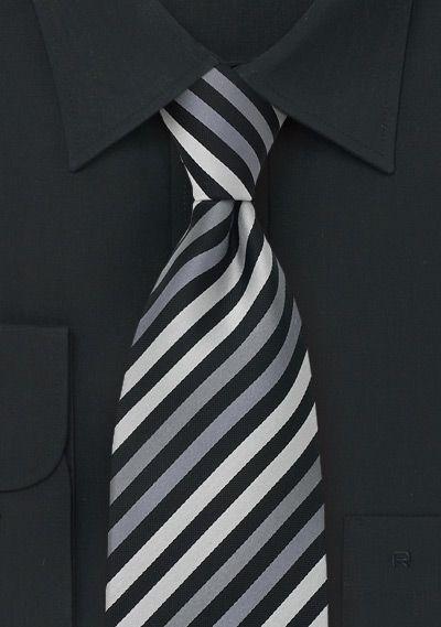 Narrow+Stripe+Tie+in+Black,+Gray,+Silver