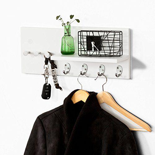 DIY estantería de pared, perchero, estante de pared, estante, colgador de llaves, blanco
