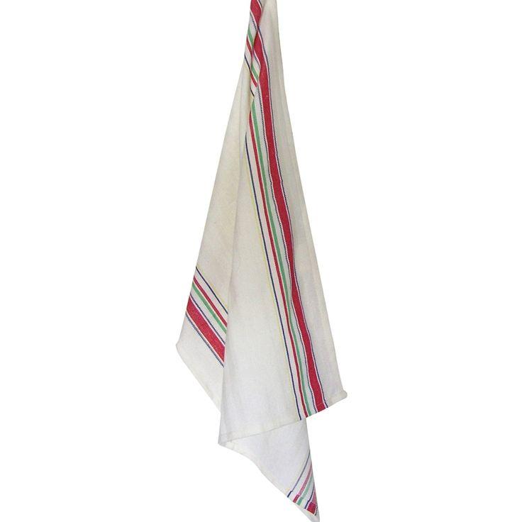 "Dunroven House Cream Tea Towel 20""X28""-Vintage Multi Stripe - vintage multi stripe"