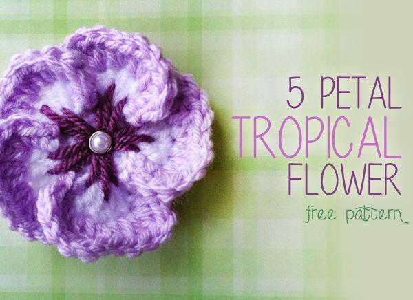 5 Petal Tropical Crochet Flower (Free Crochet Flower Pattern!) - gratis patroon voor gehaakt tropisch bloempje