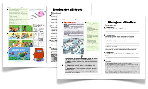 Education civique: 2 fiches: dialoguer, débattre et les élections de délégués.