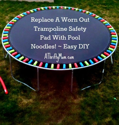 replace a worn out trampoline safety pad with pool noodles ~ Easy DIY, #diy, #trampoline, #poolnoodles, #homeimprovement