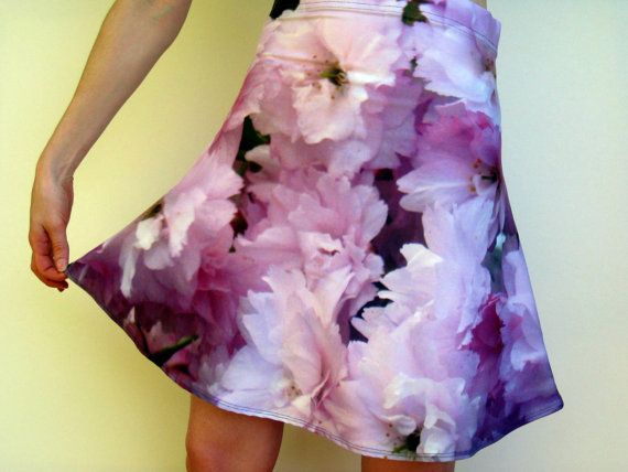 pink skirt with cherry blossom print cherry by TheCateEscape