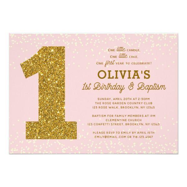 1st Birthday Baptism Invitation Pink Gold