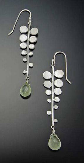 Fern Earrings: Ananda Khalsa: Silver & Stone Earrings - Artful Home