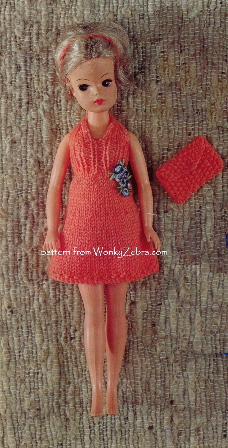 fab dress and matching bag! from WZ378 , a  vintage Emu6691 dolls pattern as a PDF from wonkyzebra in ToyPatternLand on Etsy  plus a halter top, a cute little bikini, and shorts.
