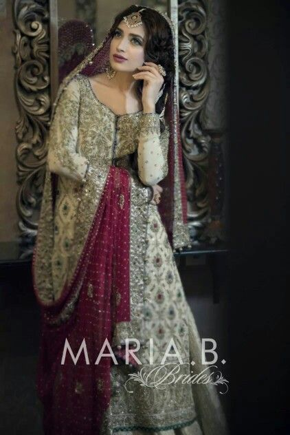 Loving Maria B; Option Ranking - 1   ;  style of dress -- 1   ; Event -- shaadi ; Price: idk   ; Color:  magenta dupatta - 1, white dress - 1 but would modify colors and kaam on shirt - with more gold kaam