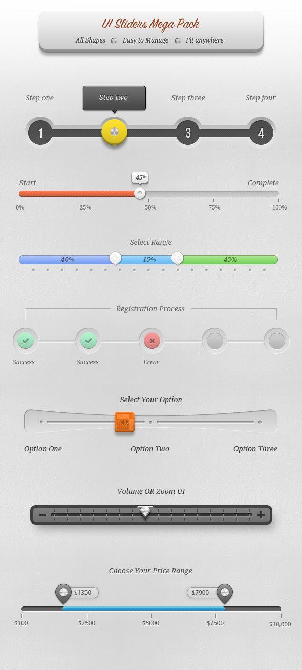 UI Sliders Mega Pack -- voorbeelden van voortgang registraties, offerteaanvragen of aanmeldingen