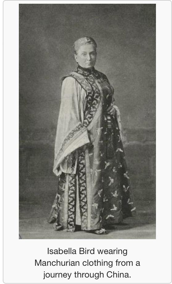 Isabella Bird wearing Manchurian clothing.