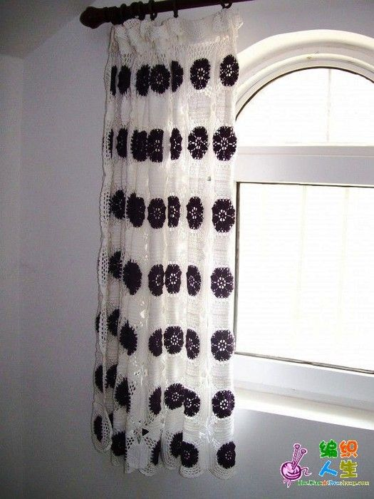Free crochet curtain pattern - written pattern not in English, but there's a diagram that's clear