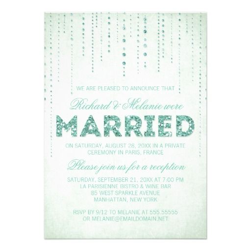 Sparkly Glitter Wedding Reception Only Invitation For Wording