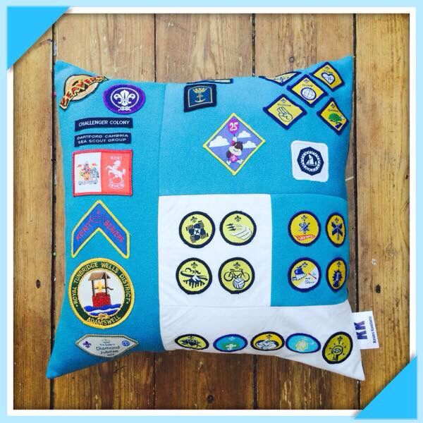 Create a Keepsake Memory cushion from an old uniform to keep the memories out and alive not buried away in a draw or the loft! Cubs Beavers Scouts Association Rainbows Brownies Girl guides brownie ideas scouting craft badge cushions world guiding scout family see this and more at facebook.com/kasieskomfortsuk