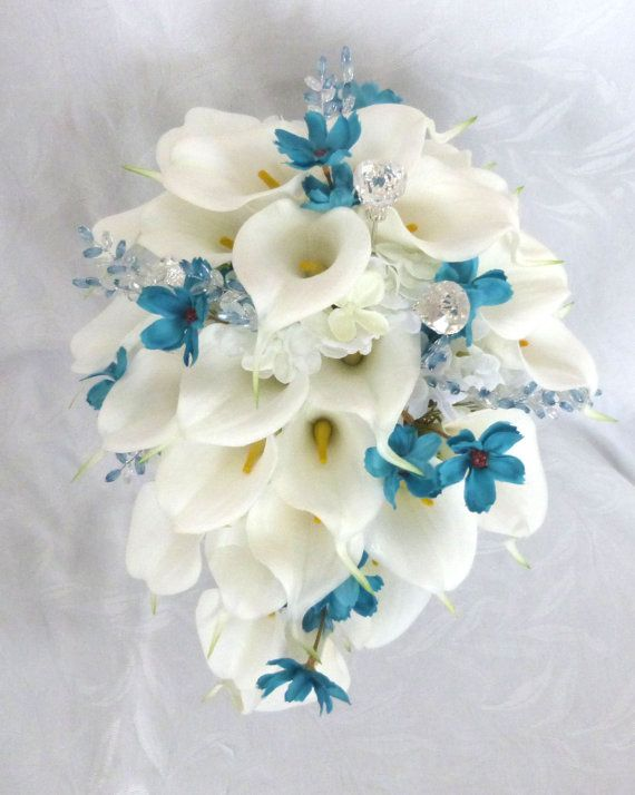 Calla lily and hydrangea cascading wedding bouquet set with turquoise cosmos and gem accents