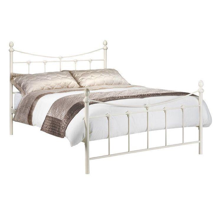 Metal King Size Bed Frame Off White Wood Headboard Footboard Bedroom Furniture