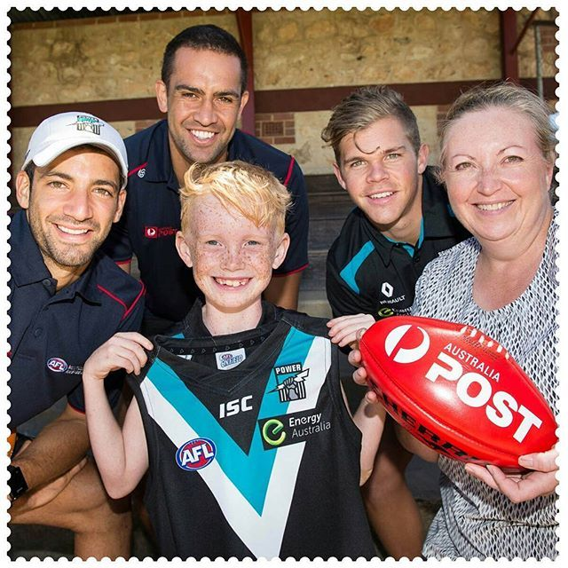 Nine-year-old Isaiah Durham won a private training session with Australia Post AFL Ambassadors Alipate Carlile and Jimmy Toumpas (also joined by Daniel Houston) from Port Adelaide yesterday in Murray Bridge, 5253.  This is part of the Australia Post supported AFL Community Camps, which provide fans with opportunities to meet and interact with their favourite AFL players and clubs. #AustraliaConnected, #SouthAustralia, #Australia, #MurrayBridge, #PortAdelaide, #AFLCommunityCamp, #AFL