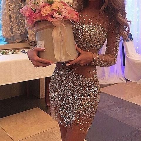 Sexy rhinestone sequins round neckline deep long illusion sleeve sheath mini homecoming dress,BD0111